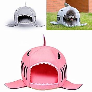 LA VIE Casa Linda para Mascota en Forma de Tiburón con Cojín Extraíble y Base Antideslizante