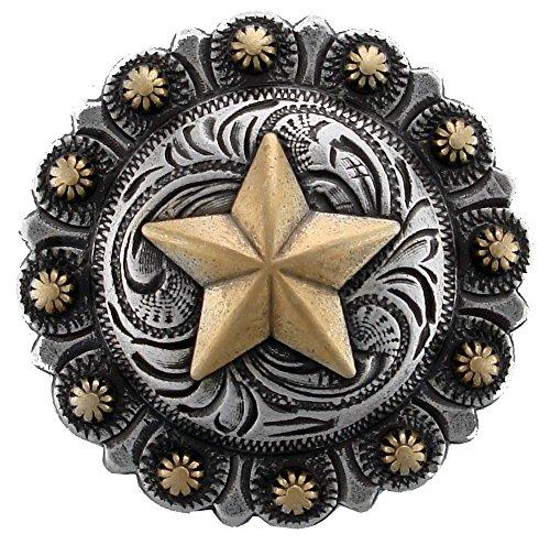 Western Antique Silver Concho Golden Texas Star, 1 1/4