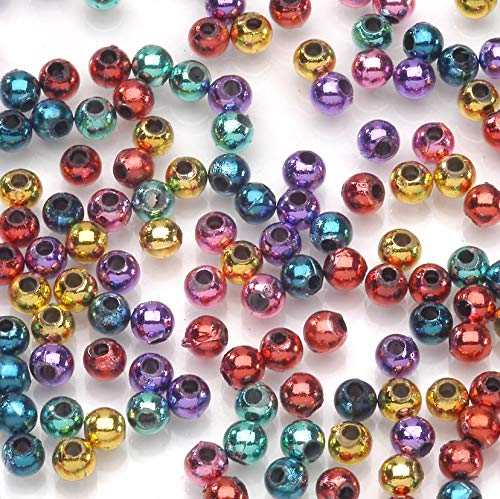 (Jewelry Designer 1985-48 1380 Piece 4mm Round Bright Metallic Beads Multicolor)