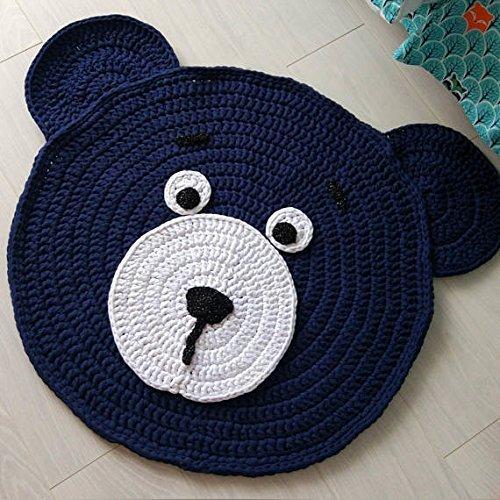 Nursery teddy bear rug + gift, nursery rug, round rug, crochet rug, nursery decor, baby shower gift, floor rug, Handmade Rug, baby rug (Rug Crochet Round)