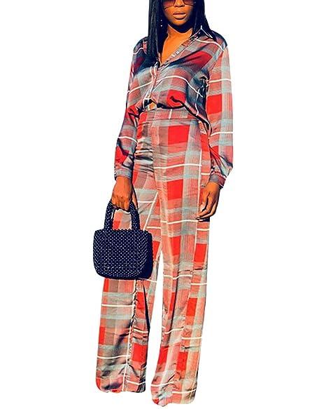 Amazon.com Jihe Womens 2 Piece Outfits Grid Shirts Suits