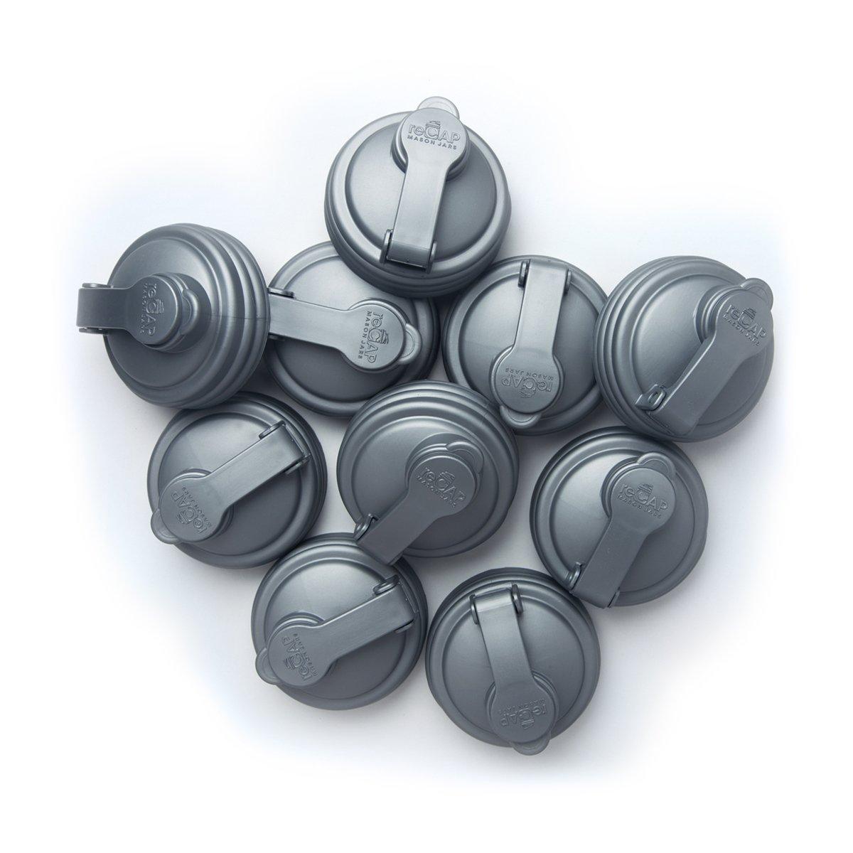 reCAP Mason Jars Lid POUR Cap, Regular Mouth, Silver, 10 Pack