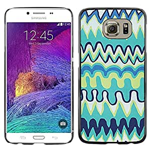 LECELL--Funda protectora / Cubierta / Piel For Samsung Galaxy S6 SM-G920 -- Childrens Kids Art Blue Drawing --