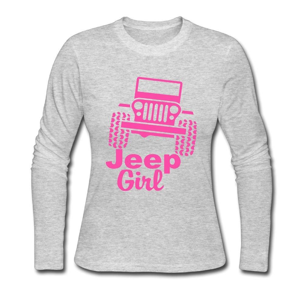 LL& SHTT Women's Long Sleeve Tee Shirts, Jeep Girl Backing Shirt Overdress