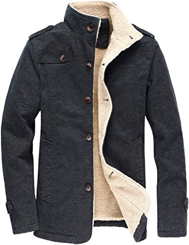 SportsX Mens Windproof Sherpa Collar Button Quilted Jacket