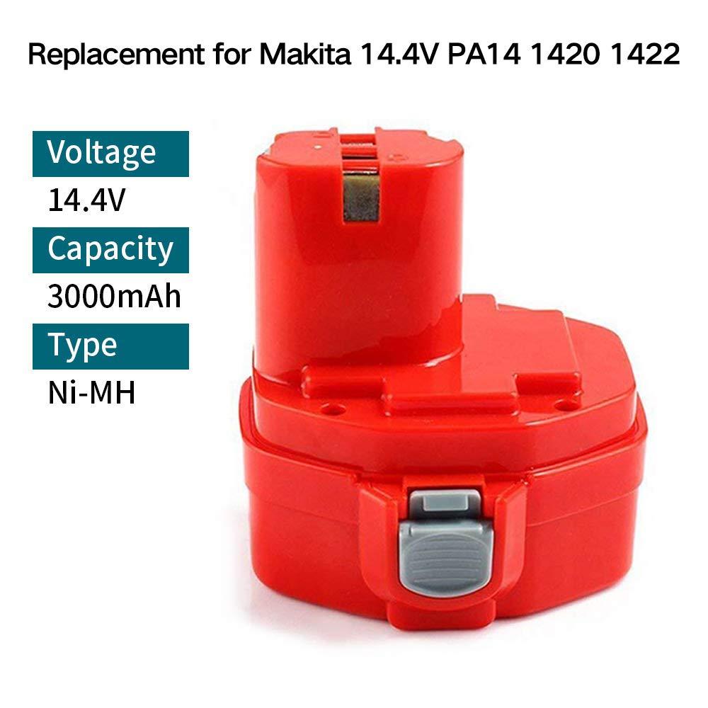 2 x Powayup 14.4V 3.0Ah 1420 NI-MH Sostituzione per Makita batteria PA14 1420 1422 1433 1434 1435 1435F 192600-1 193985-8 192699 193157-5 193158-3