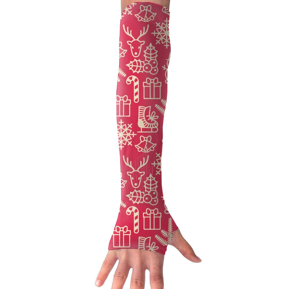 Unisex Christmas In Vintage Style Cute Xmas Characters Deer Sunscreen Outdoor Sports Arm Warmer Long Sleeves Glove