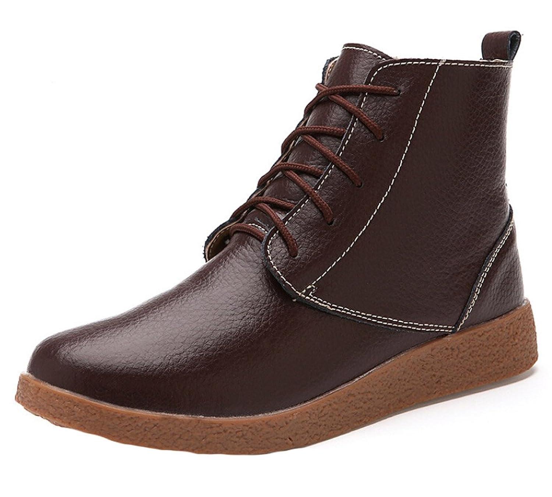 Women 100% Genuine Leather Flat Waterproof Ankle Snow Boots