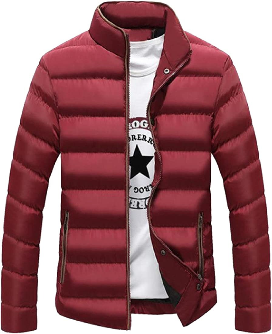 VividYou Mens Thicken Solid Novelty Slim Stand Collar Down Coats Outwear