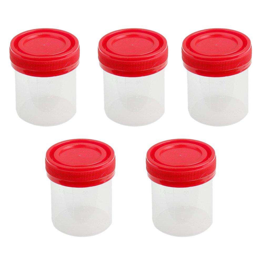 TOOGOO(R)5x 40ml Graduated Plastic Specimen Cup Sterile Recipient With Lid
