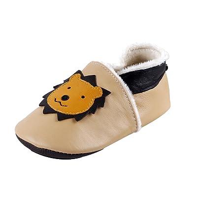 LSERVER Chaussures de bébé en cuir souples Hiver Chaude Chaussons Douce Unisexe