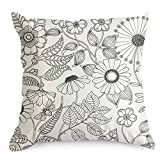 Flowers Colouring Craft Kit Creativity DIY Coloring Pillowcase Decoration, 18 Inch Square with A Set of 12 Doodle Color Pens, Creative Gift for Kids (Flowers)