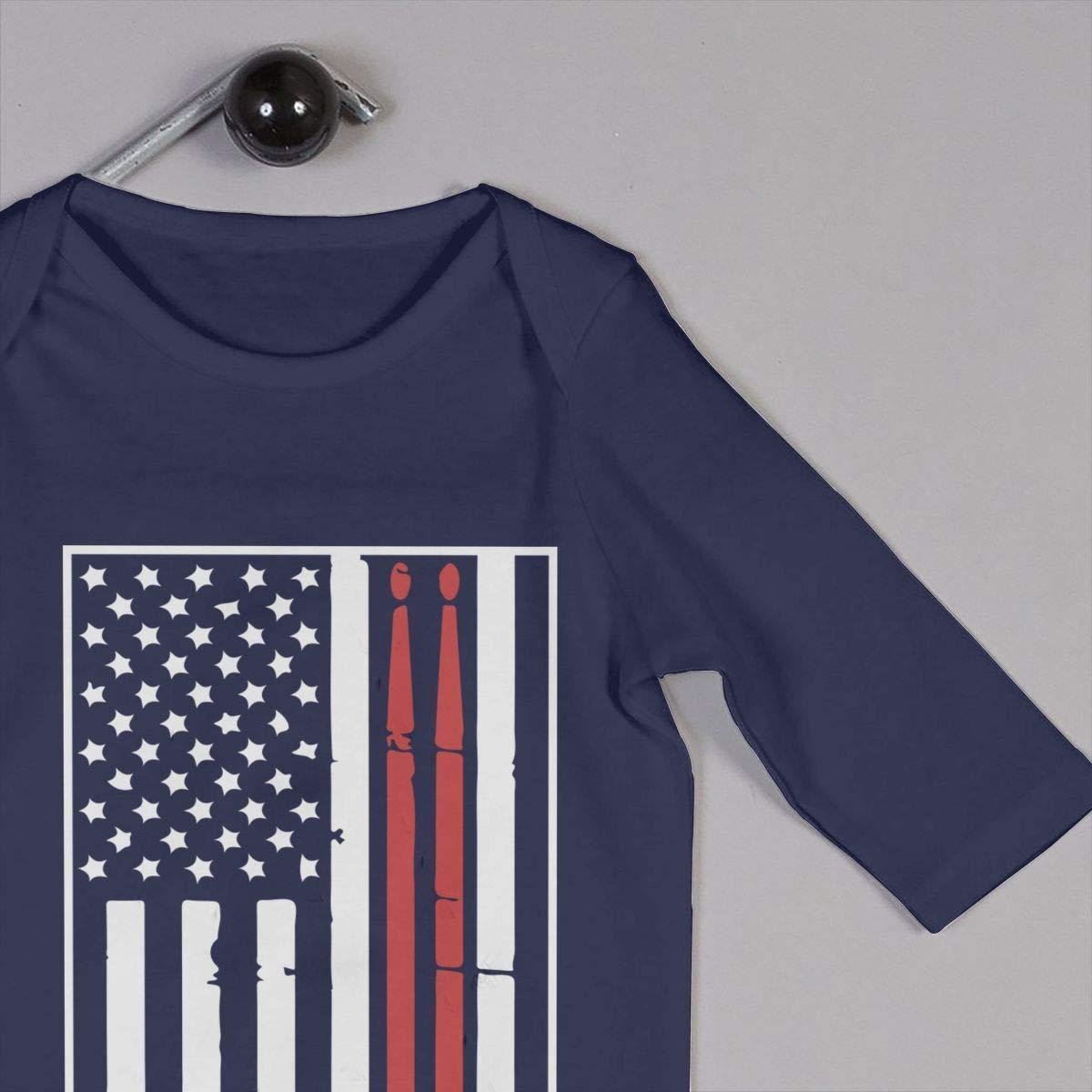 YUE--3BODY American Flag /& Drumsticks Baby Boy Long Sleeve Infant Bodysuit
