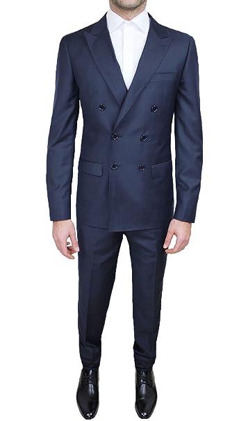 Abito cerimonia uomo sartoriale completo blu scuro doppiopetto slim fit   Amazon.it  Abbigliamento f2961ecccbc