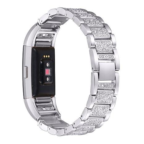 Bonjouree Bracelet de Fitbit Charge 2 En Acier Inoxydable Cristal Pour Fitbit Charge 2 (Argent): Amazon.fr: Jeux et Jouets