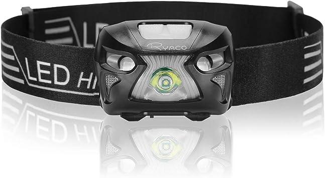 Ryaco Linterna Frontal LED USB Recargable 1200mAh, Linterna Cabeza 4 Modos Sensor de Movimiento, Linternas LED Alta Potencia 300 Lúmenes IPX4 ...
