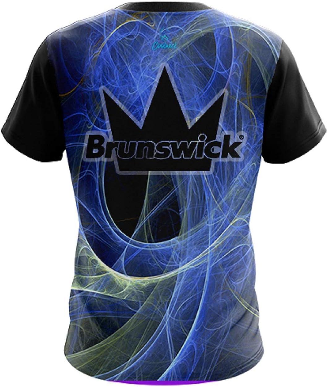 CoolWick Mens Brunswick Energy Swirls Blue Bowling Jersey