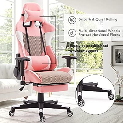 Giantex Gaming Chair Racing Style High Back Ergonomic Office Chair Executive Swivel Computer Desk Chair Height Adjustable Task Chair Reclining with Lumbar Support, Headrest and Footrest