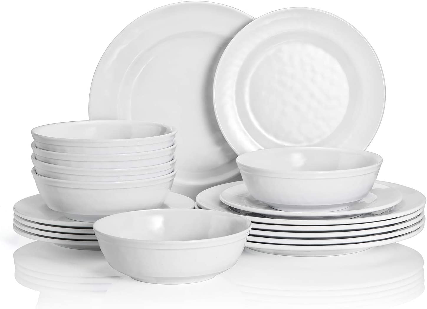 TP Dinnerware Set, 18-Piece Melamine Dishes Set, Dinner Service for 6 with Bowls and Salad Dinner Plates, White