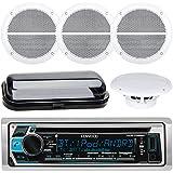 Kenwood KMR-D368BT In-Dash Marine Audio Blutooth Receiver Bundle , 2 Pairs of Enrock Marine 6.5 Marine Hot Tub Outdoor Waterproof Speakers + Waterproof Receiver Shield Cover