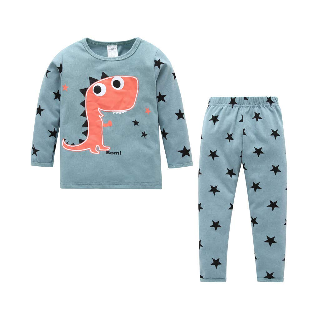 Zerototens Boys Clothing Set,0-4 Years Old Infant Baby Boys Long Sleeve Blue Dinosaur Print Pullover Sweatshirt Tops and Pants Autumn Winter Children Casual Tracksuit Set