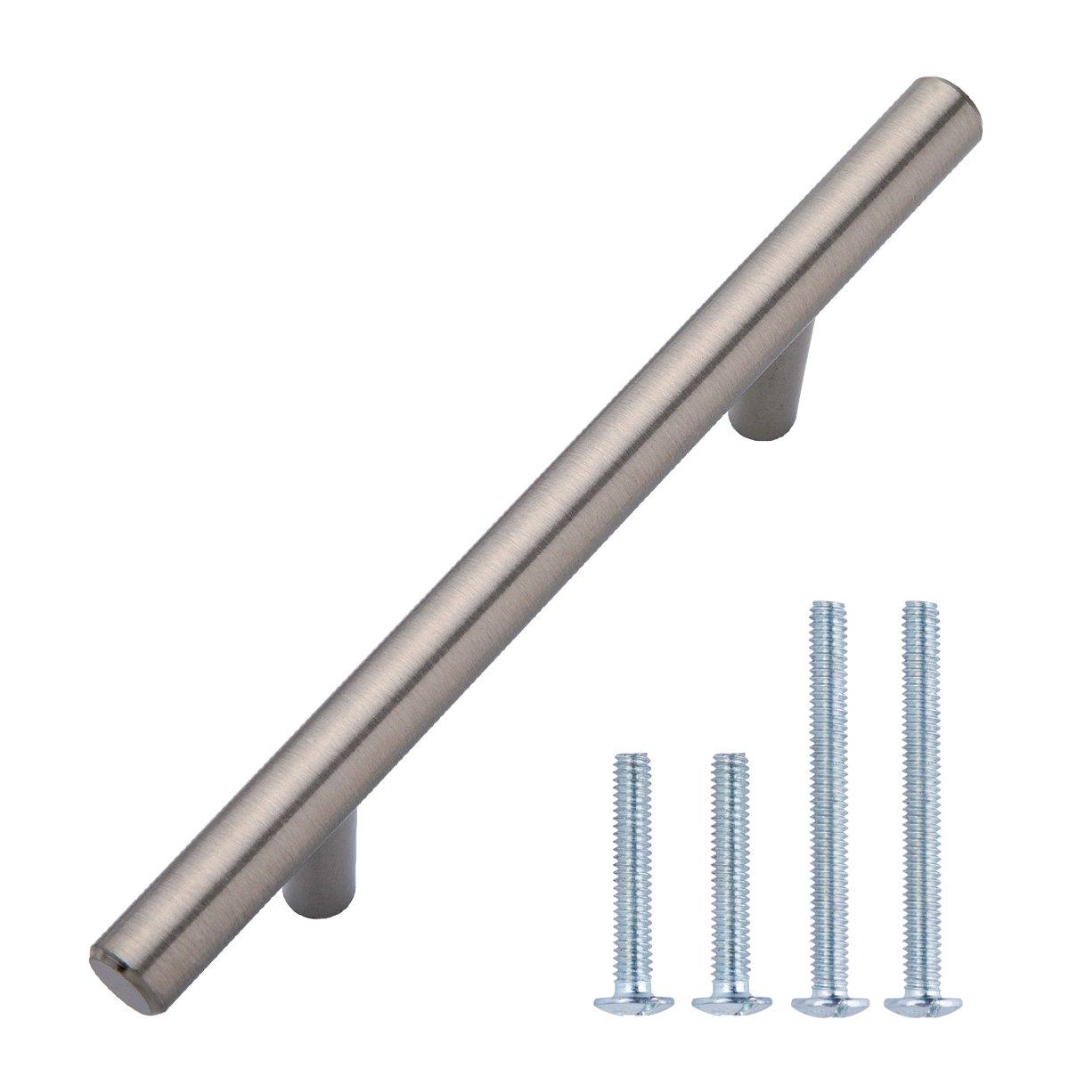 AmazonBasics Euro Bar Cabinet Handle 3 8 Diameter 5.38 Length 3 Hole Center Satin Nickel 10 Pack