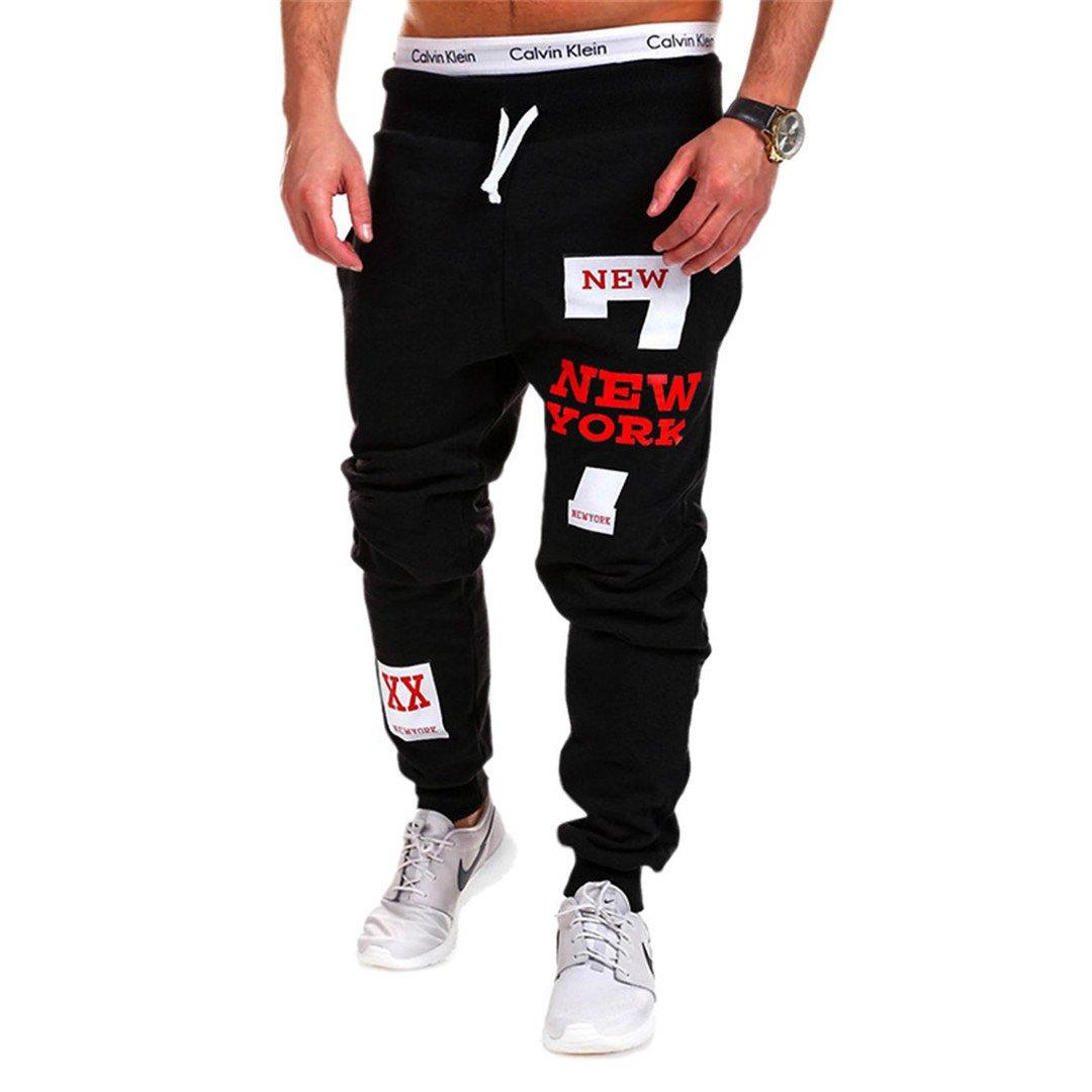 Fashion Fitness Workout Pants Casual Sweatpants Trousers black red XXXL