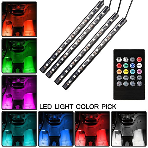 Car LED Strip Light YougIka 4pcs 48 LED DC 12V Multicolor Music Car Interior Light LED Under Dash Lighting Kit With Sound Active Function And Wireless Remote Control Car Charger Included