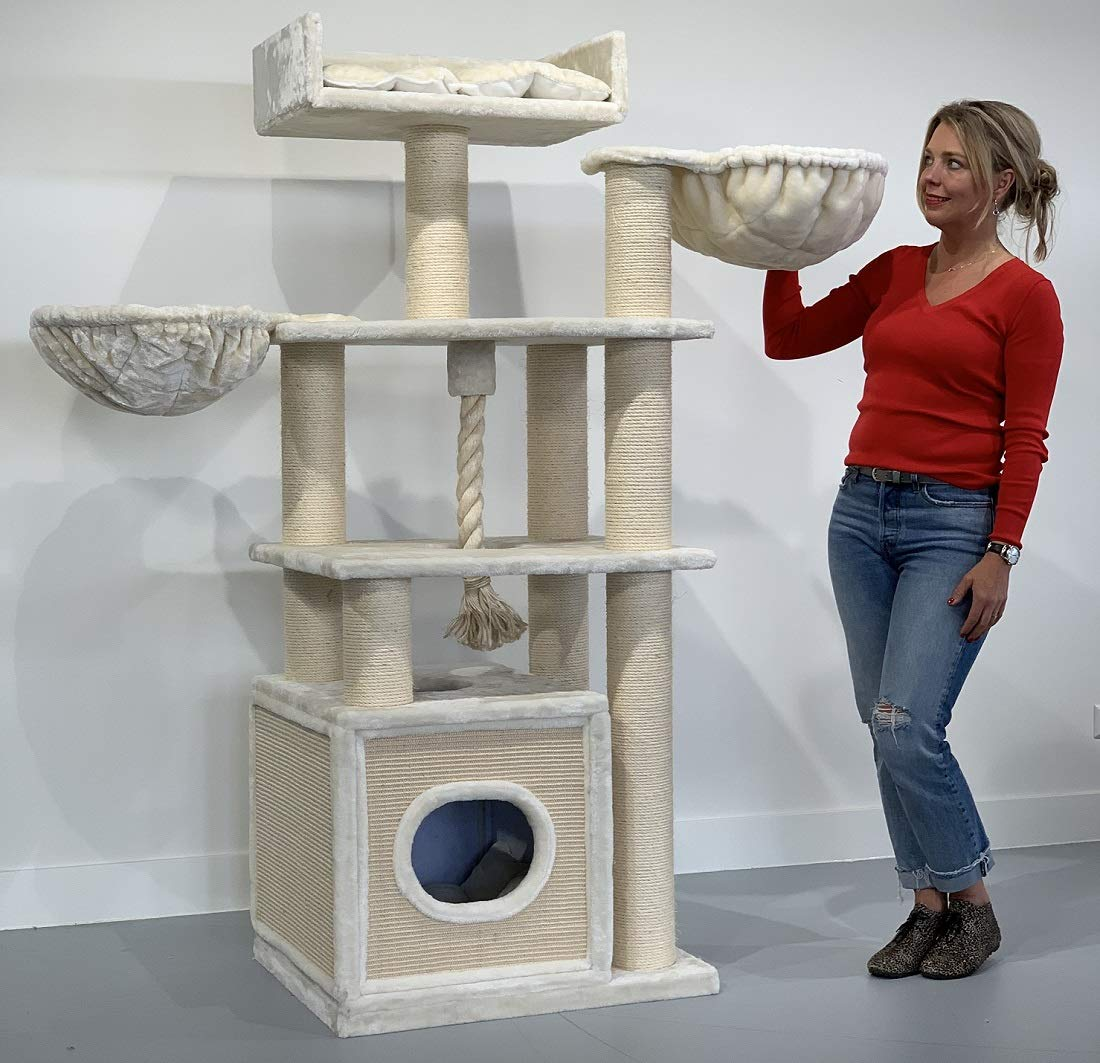 Cat tree for large cats Cat Relax PLUS Beige XXL extra big breed trees scratch post and adult towers furniture scratcher activity centre