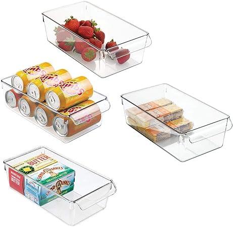 mDesign Cajas organizadoras grandes con asa - cajas plasticas ideales para cocina, en armarios o como caja para nevera - 4 piezas, transparente: Amazon.es: Hogar
