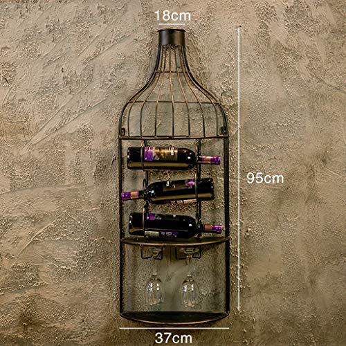 BETTY Montado en la Pared de Metal Vino Estante con Vidrio Stemware Organizador, Estante del Vino de la Pared para 3 Botellas...