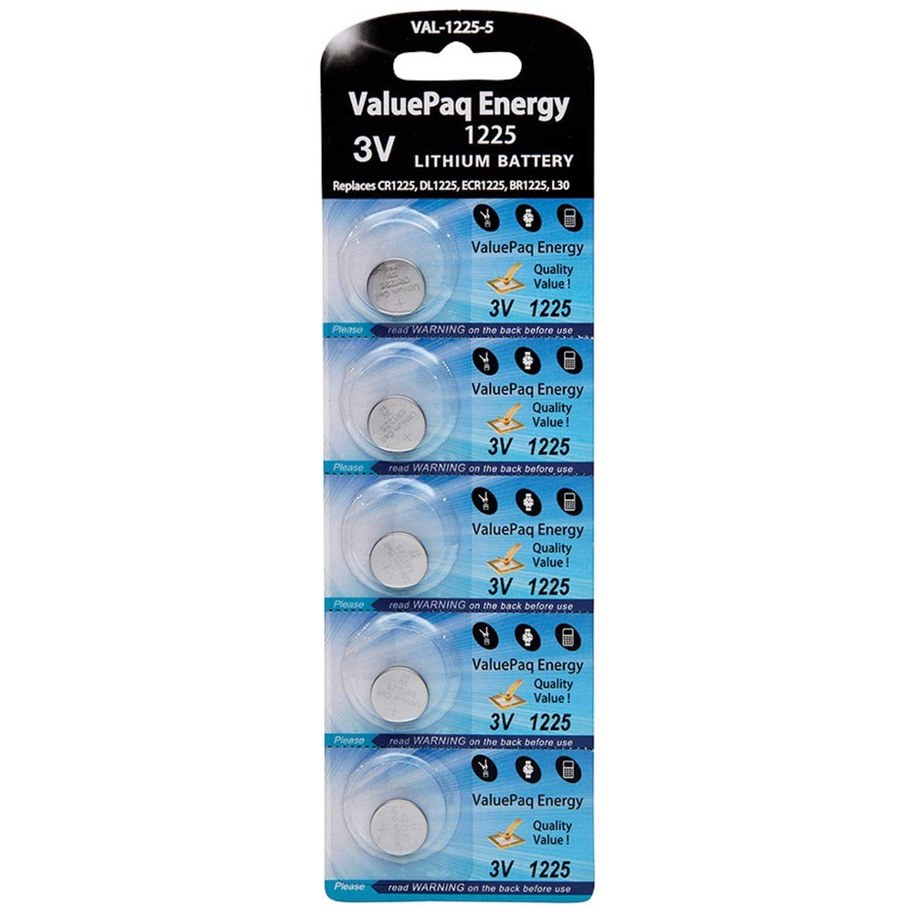Valuepaq Energy 1225 Lithium Coin Cell Batteries, 5 Pk