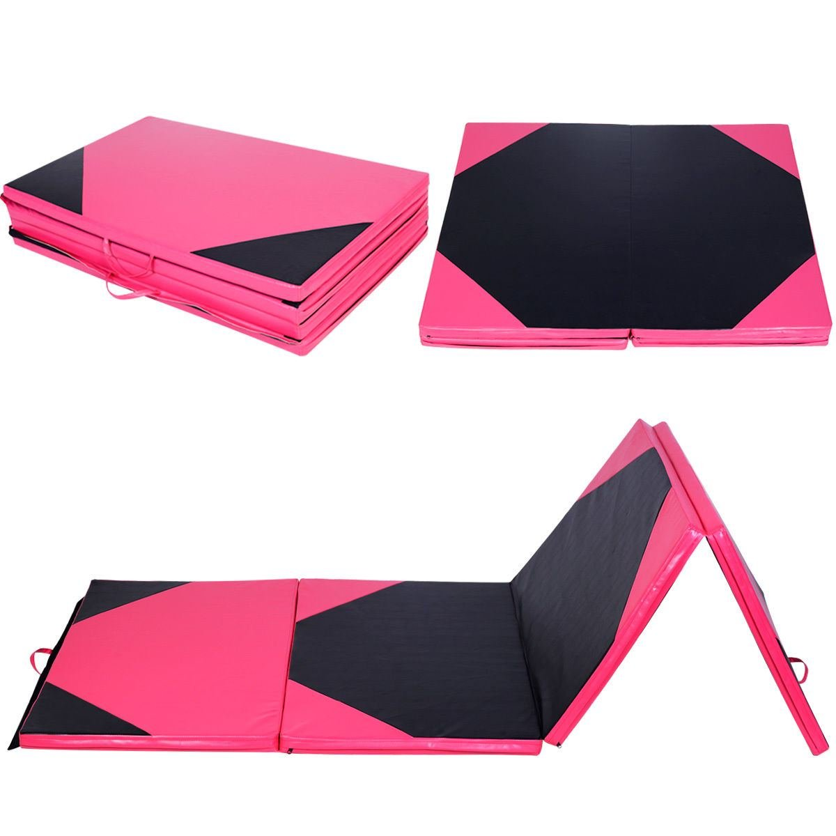 Thick Folding Panel Gymnastics Mat 4'x10'x2'' Gym Fitness Exercise Pink & Black by Unknown