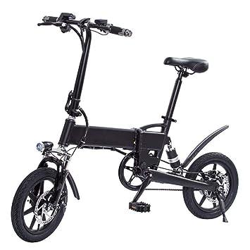 Z&L Scooter Eléctrico Bicicleta Plegable Eléctrica De 14 Pulgadas con Batería De Iones De Litio Negro