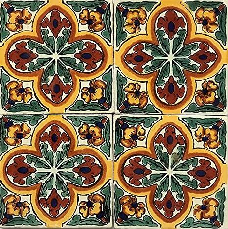 Amazon.com: Tamaño grande 6 x 6 azulejos de Talavera pintado ...
