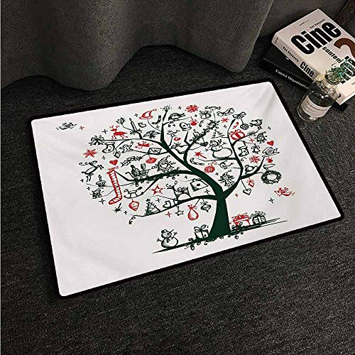 HCCJLCKS Printed Door mat Christmas Large Tree with New Year Ornaments Presents and Candles Angels Holiday Theme Country Home Decor W16 xL24 Green Vermilion