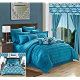 Chic Home 24 Piece Hailee Complete Pleated Ruffles and Reversible Printed Bed in a Bag Comforter Set with Window Treatment, Queen, Teal