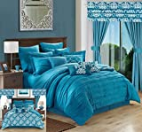 Chic Home Hailee 24 Piece Comforter Set Complete Bed in a Bag Pleated Ruffles and Reversible Print with Sheet Set & Window Treatment, King Teal