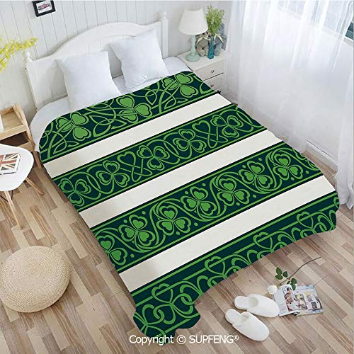 (Camping Blanket Set of Four Shamrock Borders Gaelic Nature Botany Theme Artsy Trefoils Swirls(W31.5xL47.3 inch ) Easy Care Machine Wash for Bedroom/Living Room/Camping etc)