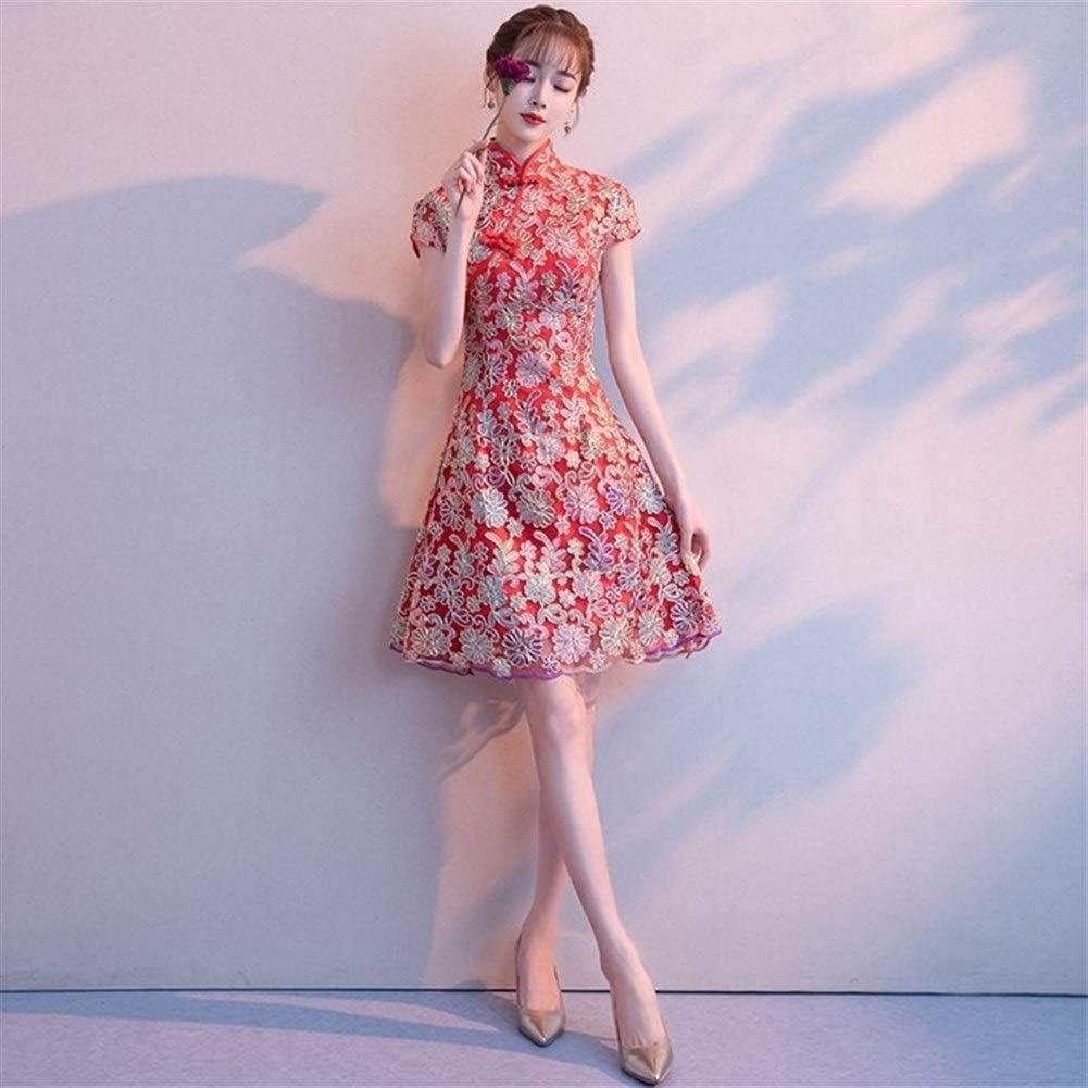 ZZYLHS Tradizionale Lady stile cinese Quotidiano Red vintage sposa festa di nozze Qipao Collare del mandarino Cheongsam Stage Show Abbigliamento A Line Long Sleeve