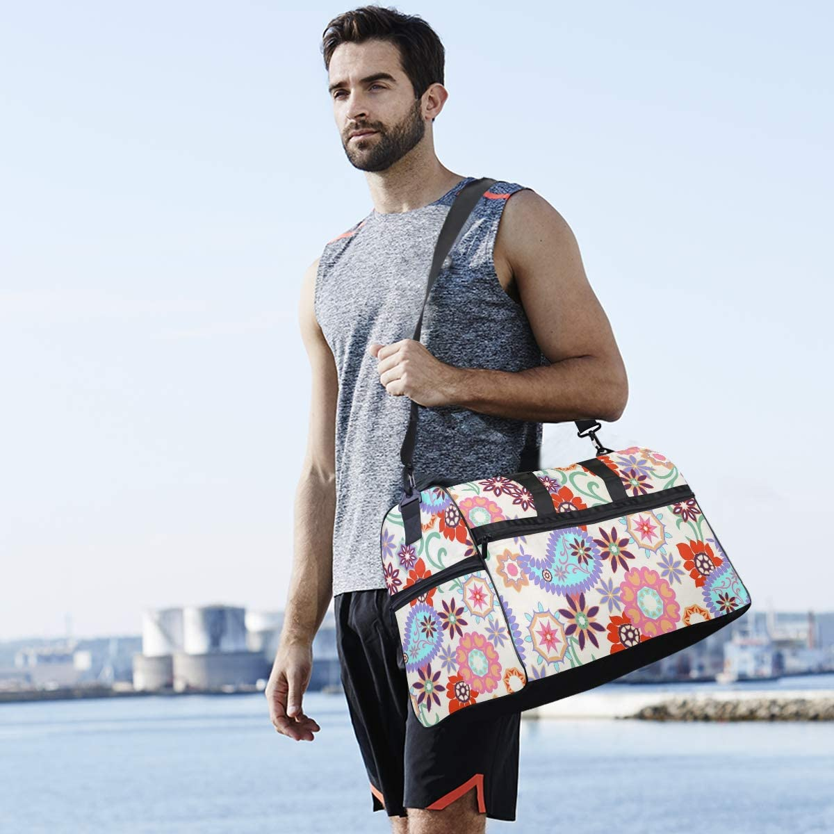 AHOMY Flower Paisley Sports Gym Bag with Shoes Compartment Travel Duffel Bag