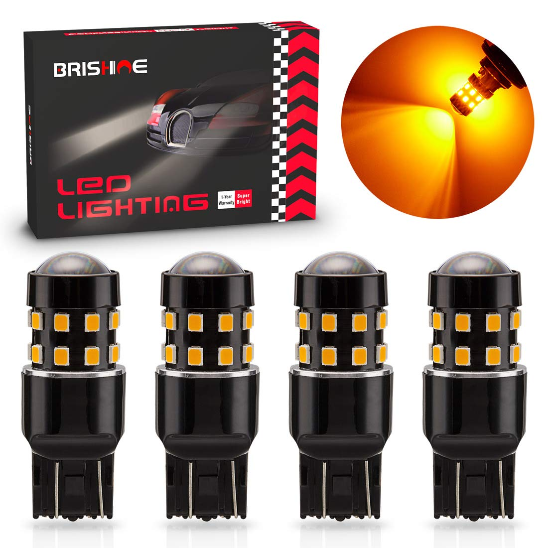Tail Center High Mount Stop Lights BRISHINE 300LM Extremely Bright Canbus Error Free 194 168 2825 W5W T10 LED Bulbs Brilliant Red 9-SMD 2835 Chipsets for Map Dome Rear Side Marker Lights Pack of 4
