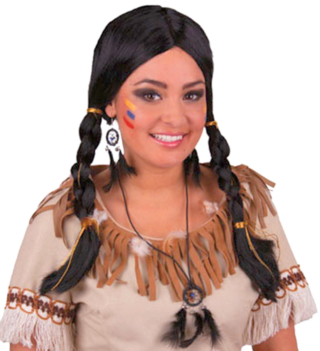 Womens INDIAN WIG with Plait Hair Native American Party Costume Headdress