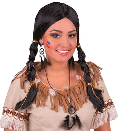Fasching Fete indios peluca con trenzas cinta de pelo y cabeza joyas indio Disfraz Muelle,