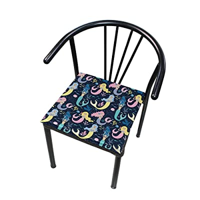 """Bardic HNTGHX Outdoor/Indoor Chair Cushion Colorful Mermaid Pattern Square Memory Foam Seat Pads Cushion for Patio Dining, 16"""" x 16"""": Home & Kitchen"""
