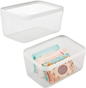mDesign Flat Decorative Metal Bathroom Storage Organizer Bin Basket for Vanity, Towels, Cabinets, Shelves - Holds Sponges, Make-Up, Shampoo, Conditioner, Cosmetics, Hand Towels, 2 Pack - White