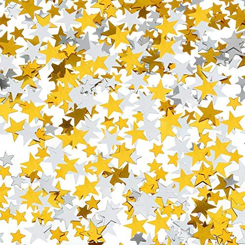 (DSSY 60 g Star Confetti Gold Silver Table Confetti Metallic Foil Stars for Party Wedding Festival Decorations, 2 Sizes, 10mm and 6mm )