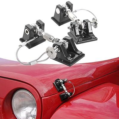 RT-TCZ Jeep Wrangler JL/Jeep Wrangler JK 2 Doors / 4 Doors Hood Catch Latch Set Kit Hood Locking Black Aluminum Umlimted: Automotive