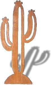 18in Southwest Saguaro Cactus Rust Metal Yard-Garden-Planter Statue