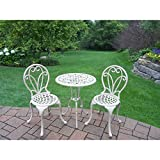 Oakland Living Corporation Elegance Beach Sand Cast Metal 3-piece Outdoor Bistro Dining Set